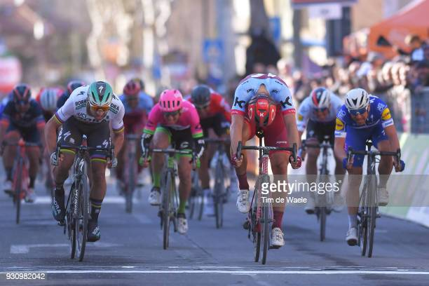 Arrival / Sprint / Marcel Kittel of Germany Peter Sagan of Slovakia Maximiliano Richeze of Argentina during the 53rd TirrenoAdriatico 2018 Stage 6 a...