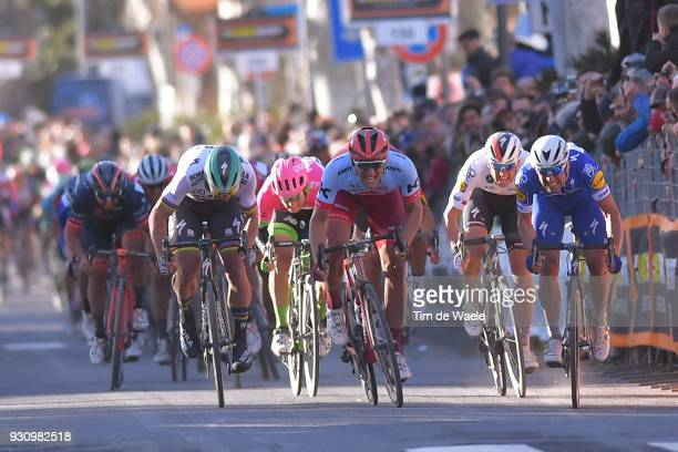 Arrival / Sprint / Marcel Kittel of Germany Peter Sagan of Slovakia Maximiliano Richeze of Argentina Zdenek Stybar Czech Republic during the 53rd...