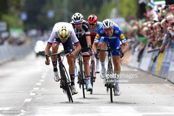 Arrival / Sprint / Matej Mohoric of Slovenia and Bahrain Merida Pro Team / Tom Dumoulin of The Netherlands and Team Sunweb / Nils Politt of Germany...