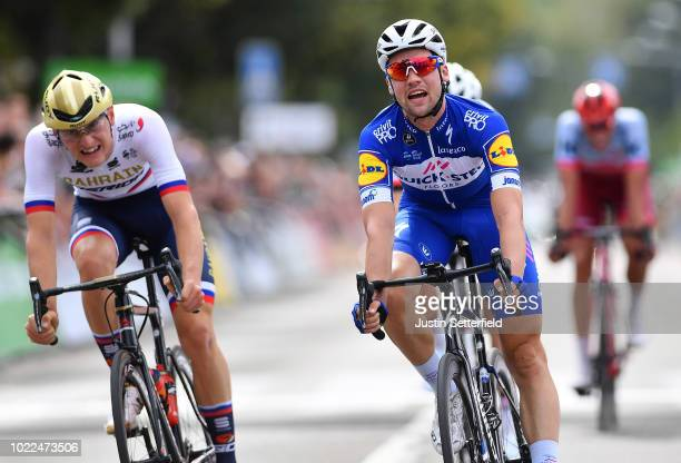 Arrival / Sprint / Matej Mohoric of Slovenia and Bahrain Merida Pro Team / Maximilian Schachmann of Germany and Team Quick-Step Floors Celebration /...