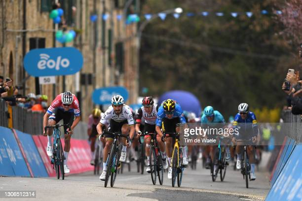 Arrival / Sprint / Mathieu Van Der Poel of Netherlands and Team Alpecin-Fenix, Julian Alaphilippe of France and Team Deceuninck - Quick-Step, Wout...