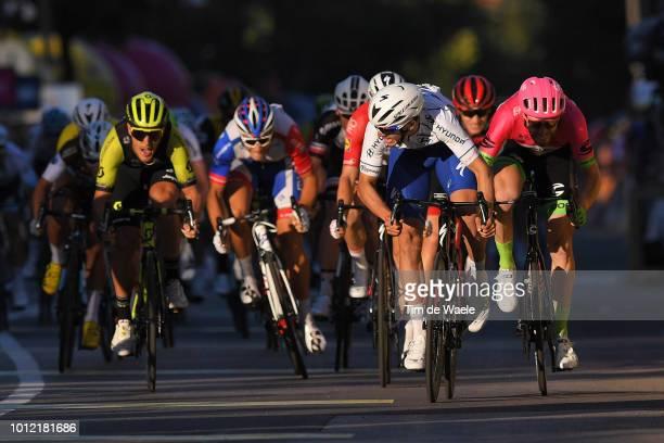 Arrival / Sprint / Matteo Trentin of Italy and Team Mitchelton - Scott / Alvaro Jose Hodeg Chagui of Colombia and Team Quick-Step Floors White Sprint...