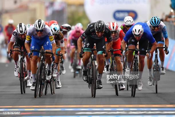 Arrival / Sprint / Michael Matthews of Australia and Team Sunweb / Davide Ballerini of Italy and Team Deceuninck - Quick-Step / Andrea Vendrame of...