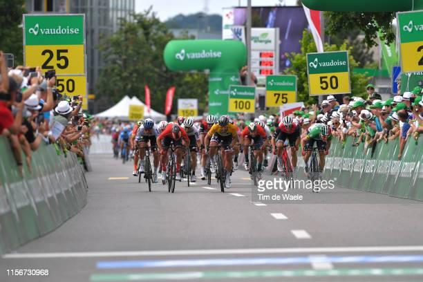 Arrival / Sprint / Michael Matthews of Australia and Team Sunweb / Peter Sagan of Slovakia and Team BoraHansgrohe Yellow Leader Jersey / Matteo...