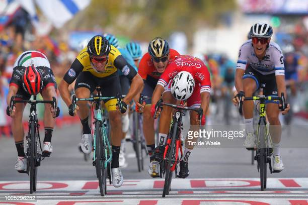 Arrival / Sprint / Nacer Bouhanni of France and Team Cofidis / Danny Van Poppel of The Netherlands and Team LottoNL - Jumbo / Simone Consonni of...