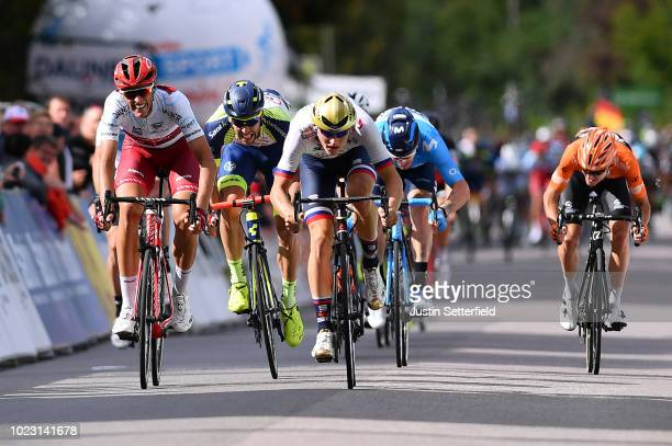 Arrival / Sprint / Nils Politt of Germany and Team Katusha Alpecin White Best Young Rider Jersey / Pieter Vanspeybrouck of Belgium and Team Wanty...