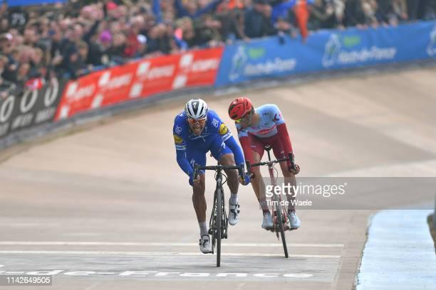 Arrival / Sprint / Nils Politt of Germany and Team Katusha-Alpecin / Philippe Gilbert of Belgium and Team Deceuninck-QuickStep / Track Roubaix...
