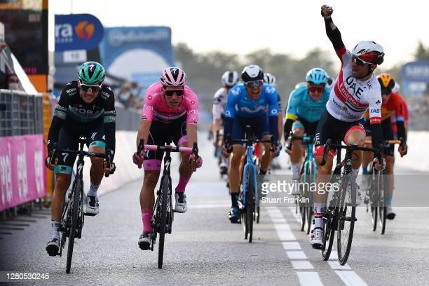 Arrival / Sprint / Patrick Konrad of Austria and Team Bora - Hansgrohe / Joao Almeida of Portugal and Team Deceuninck - Quick-Step Pink Leader Jersey...