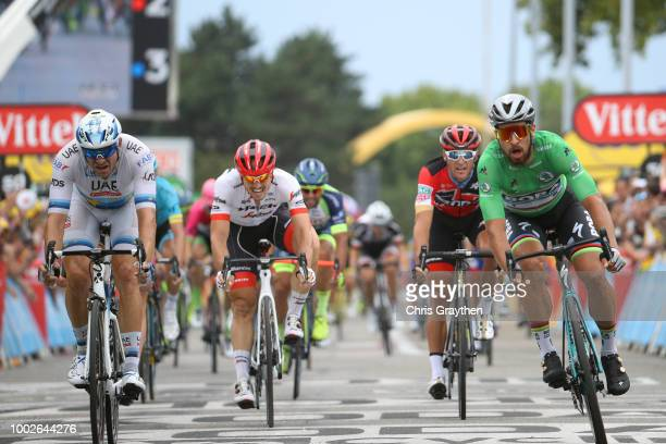 Arrival / Sprint / Peter Sagan of Slovakia and Team Bora Hansgrohe Green Sprint Jersey / Alexander Kristoff of Norway and UAE Team Emirates / Arnaud...