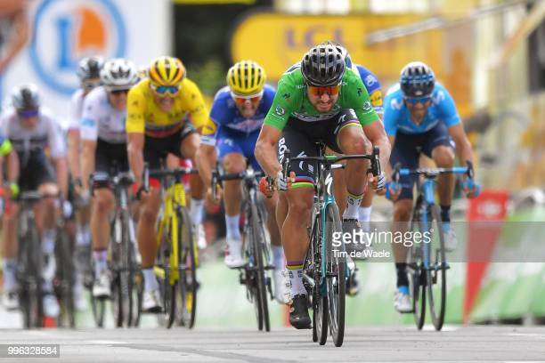 Arrival / Sprint / Peter Sagan of Slovakia and Team Bora Hansgrohe Green Sprint Jersey / Alejandro Valverde of Spain and Movistar Team / Julian...