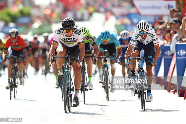 Arrival Sprint / Peter Sagan of Slovakia and Team Bora - Hansgrohe / Alejandro Valverde of Spain and Movistar Team White Combined Jersey / during the...