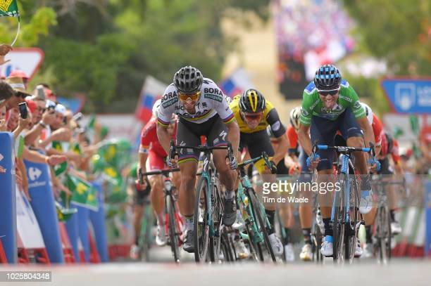 Arrival / Sprint / Peter Sagan of Slovakia and Team Bora Hansgrohe / Alejandro Valverde of Spain and Movistar Team Green Sprint Jersey / during the...