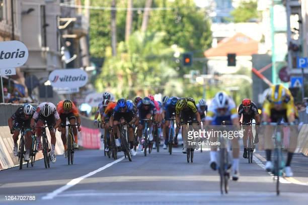 Arrival / Sprint / Peter Sagan of Slovakia and Team Bora - Hansgrohe / Michael Matthews of Australia and Team Sunweb / Greg Van Avermaet of Belgium...