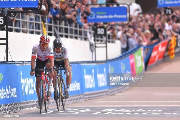 Arrival / Sprint / Peter Sagan of Slovakia and Team Bora Hansgrohe / Silvan Dillier of Switzerland and Team AG2R La Mondiale / Track Roubaix...