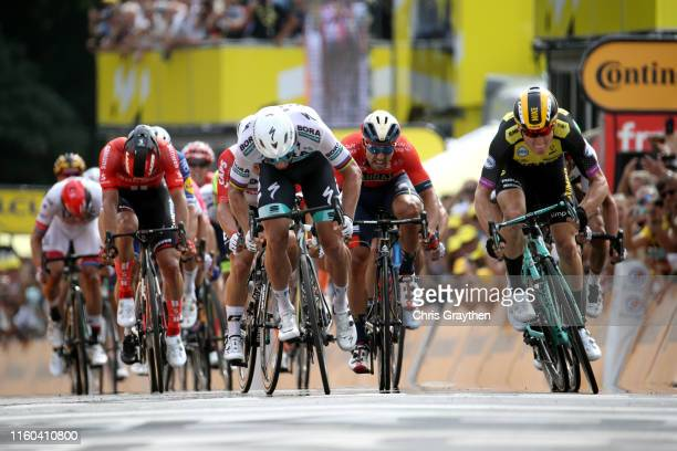 Arrival / Sprint / Peter Sagan of Slovakia and Team Bora-Hansgrohe / Caleb Ewan of Australia and Team Lotto Soudal / Mike Teunissen of The...