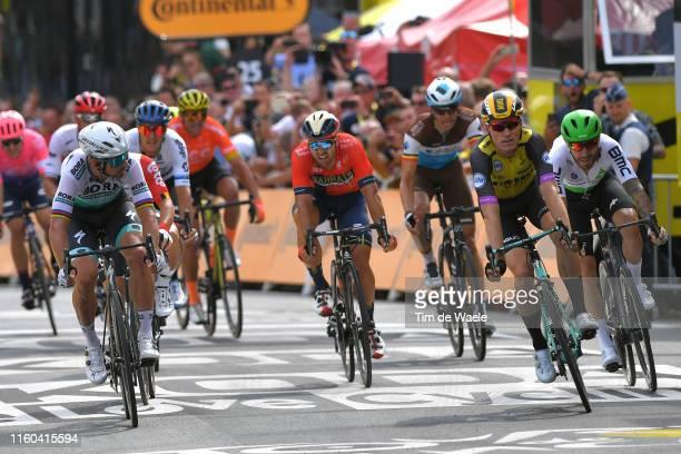 Arrival / Sprint / Peter Sagan of Slovakia and Team Bora-Hansgrohe / Caleb Ewan of Australia and Team Lotto Soudal / Mike Teunissen of The...