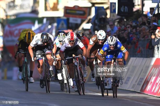 Arrival / Sprint / Peter Sagan of Slovakia and Team BoraHansgrohe / Michal Kwiatkowski of Poland and Team Sky / Wout Van Aert of Belgium and Team...