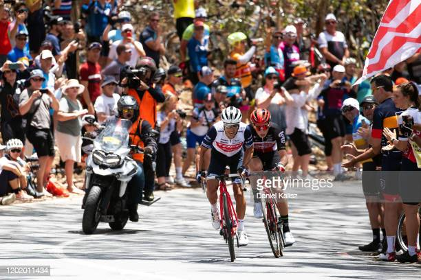 Arrival / Sprint / Richie Porte of Australia and Team Trek-Segafredo / Matthew Holmes of Great Britain and Team Lotto-Soudal / Willunga Hill / Fans /...