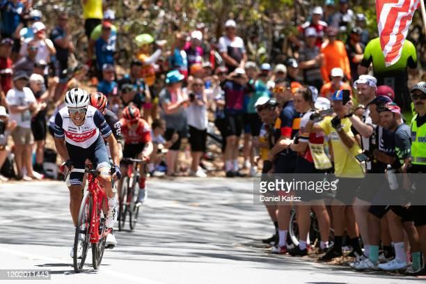 Arrival / Sprint / Richie Porte of Australia and Team Trek-Segafredo / Matthew Holmes of Great Britain and Team Lotto-Soudal / Willunga Hill / Fans /...
