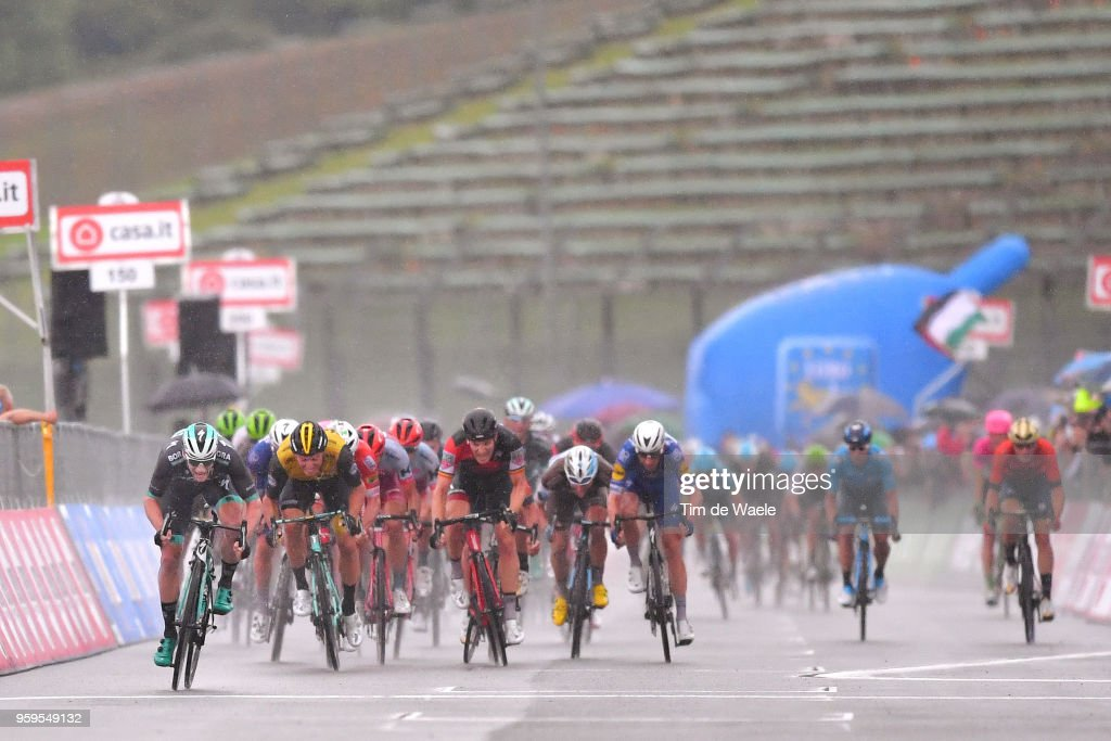 Arrival / Sprint / Sam Bennett of Ireland and Team Bora-Hansgrohe / Danny Van Poppel of The Netherlands and Team LottoNL-Jumbo / Jurgen Roelandts of Belgium and BMC Racing Team / Michael Morkov of Denmark and Team Quick-Step Floors / Clement Venturini of France and Team AG2R La Mondiale / during the 101st Tour of Italy 2018, Stage 12 a 214km stage from Osimo to Imola-Autodromo Enzo e Dino Ferrari / Imola F1 Circuit / Giro d'Italia / on May 17, 2018 in Imola, Italy.