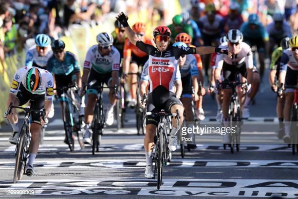Arrival / Sprint / Sam Bennett of Ireland and Team Deceuninck - Quick-Step / Caleb Ewan of Australia and Team Lotto Soudal / Celebration / Giacomo...