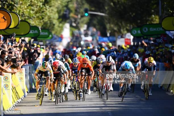 Arrival / Sprint / Sam Bennett of Ireland and Team Deceuninck - Quick-Step / Caleb Ewan of Australia and Team Lotto Soudal / Giacomo Nizzolo of Italy...