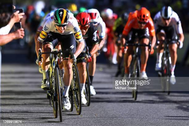Arrival / Sprint / Sam Bennett of Ireland and Team Deceuninck - Quick-Step / Caleb Ewan of Australia and Team Lotto Soudal / during the 107th Tour de...