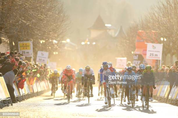 Arrival / Sprint / Simon Yates of Great Britain and Team MitcheltonScott / Mathias Frank of Switzerland and Team AG2R La Mondiale / Thibaut Pinot of...