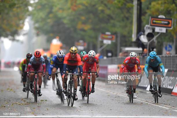 Arrival / Sprint / Sonny Colbrelli of Italy and Bahrain Merida Pro Cycling Team / Florian Senechal of France and Team Quick Step Floors / Davide...