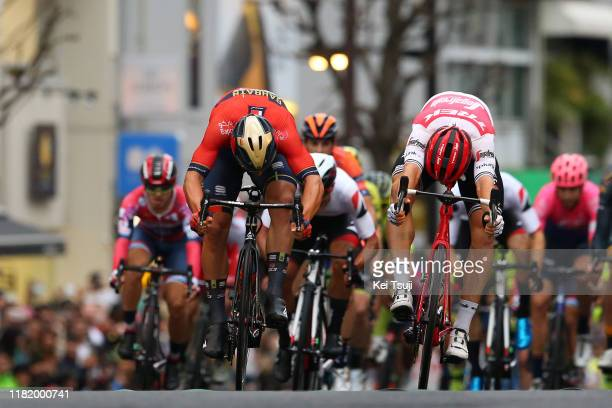 Arrival / Sprint / Sonny Colbrelli of Italy and Team Bahrain - Merida / Edward Theuns of Belgium and Team Trek-Segafredo / during the 28th Japan Cup...