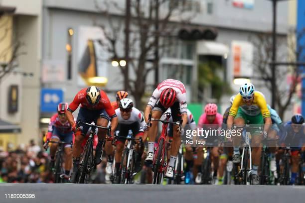Arrival / Sprint / Sonny Colbrelli of Italy and Team Bahrain - Merida / Edward Theuns of Belgium and Team Trek-Segafredo / Brenton Jones of Australia...
