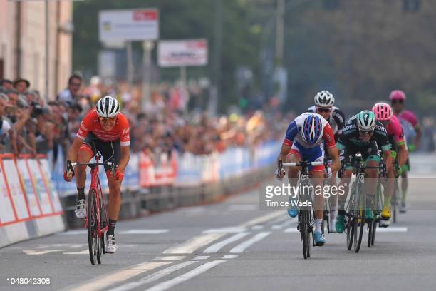 Arrival / Sprint / Toms Skujins of Latvia and Team Trek-Segafredo / Thibaut Pinot of France and Team Groupama FDJ / Peter Kennaugh of Great Britain...