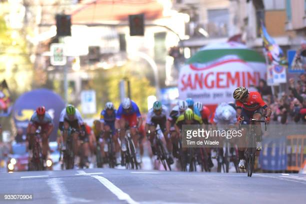 Arrival / Sprint / Vincenzo Nibali of Italy and Team BahrainMerida / Caleb Ewan of Australia and Team MitcheltonScott / during the 109th MilanSanremo...