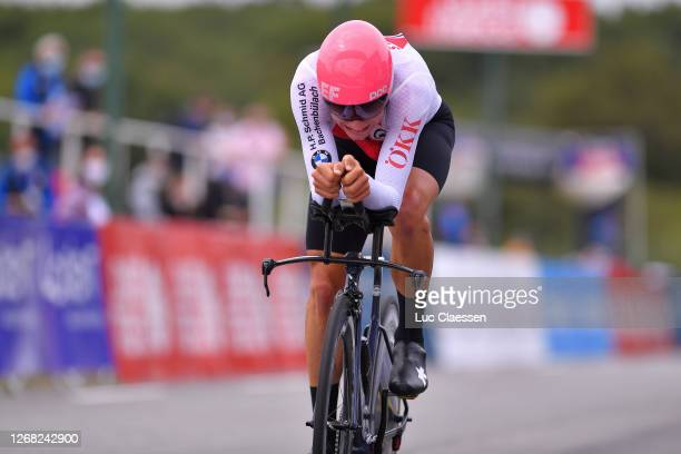 Arrival / Stefan Bissegger of Switzerland / during the 26th UEC Road European Championships 2020 - Men's U23 Individual Time Trial a 25,6km race from...