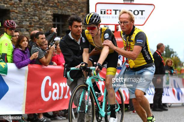 Arrival / Steven Kruijswijk of The Netherlands and Team LottoNL Jumbo / Soigneur / during the 73rd Tour of Spain 2018 Stage 20 a 973km stage from...