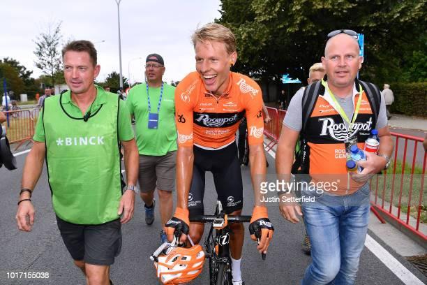 Arrival / Taco Van Der Hoorn of Netherlands and Team Roompot-Nederlandse Loterij / Celebration / during the 14th BinckBank Tour 2018, Stage 3...