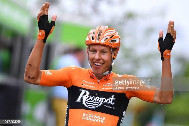 Arrival / Taco Van Der Hoorn of Netherlands and Team RoompotNederlandse Loterij / Celebration / during the 14th BinckBank Tour 2018 Stage 3 a1749km...