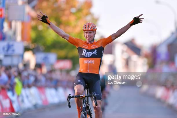 Arrival / Taco Van Der Hoorn of The Netherlands and Team Roompot - Nederlandse Loterij / Celebration / during the 85th Sluitingsprijs Putte-Kapellen...