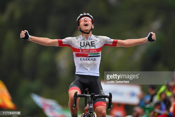Arrival / Tadej Pogacar of Slovenia and UAE Team Emirates / Celebration / during the 74th Tour of Spain 2019, Stage 9 a 94,4km stage from Andorra la...