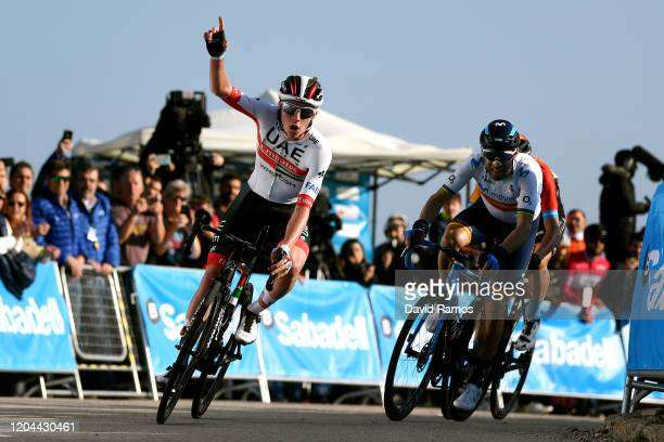 Arrival / Tadej Pogacar of Slovenia and UAE Team Emirates/ Celebration / Alejandro Valverde of Spain and Movistar Team / Dylan Teuns of Belgium and...