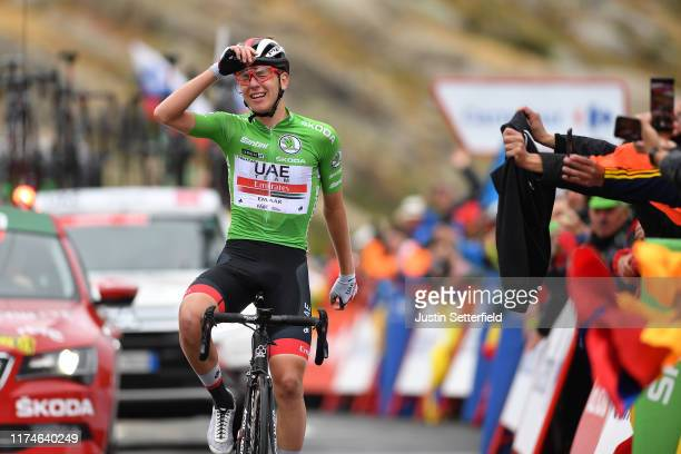 Arrival / Tadej Pogacar of Slovenia and UAE Team Emirates Green Points Jersey / Celebration / during the 74th Tour of Spain 2019 - Stage 20 a 190.4km...