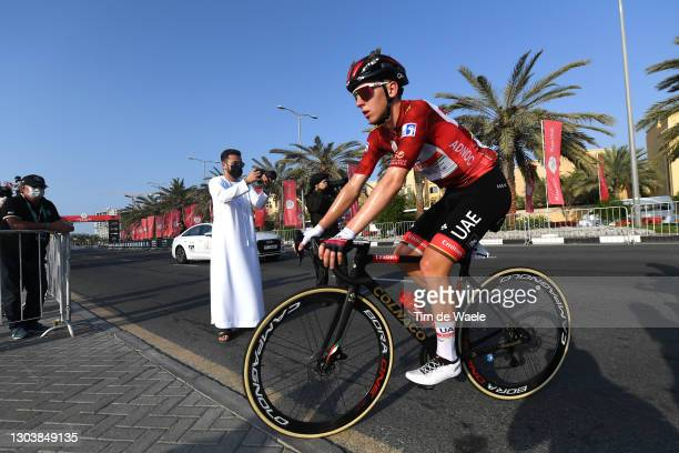 Arrival / Tadej Pogacar of Slovenia and UAE Team Emirates Red Leader Jersey during the 3rd UAE Tour 2021, Stage 4 a 204km stage from Al Marjan Island...