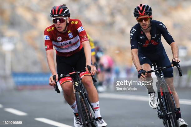 Arrival / Tadej Pogacar of Slovenia and UAE Team Emirates Red Leader Jersey & Adam Yates of The United Kingdom and Team INEOS Grenadiers during the...