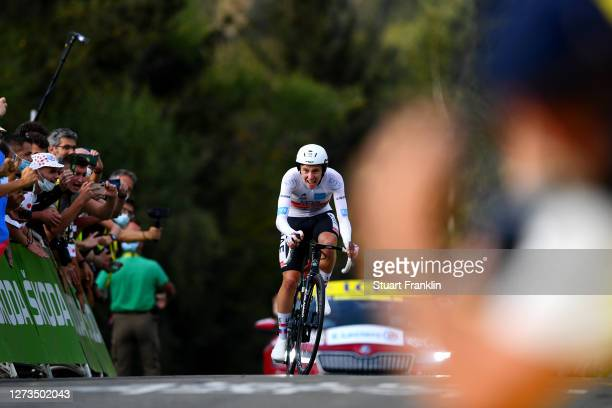 Arrival / Tadej Pogacar of Slovenia and UAE Team Emirates White Best Young Jersey / during the 107th Tour de France 2020, Stage 20 a 36,2km...