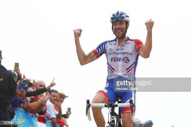 Arrival / Thibaut Pinot of France and Team Groupama FDJ / Celebration / during the 73rd Tour of Spain 2018, Stage 15 a 178,2km stage from Ribera de...