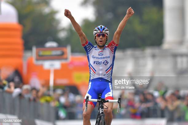 Arrival / Thibaut Pinot of France and Team Groupama FDJ / Celebration / during the 99th Milano Torino 2018 a 200km race from MagentaMilan to...
