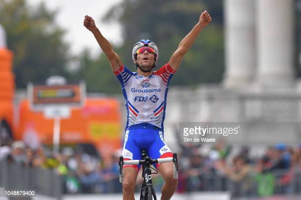 Arrival / Thibaut Pinot of France and Team Groupama FDJ / Celebration / during the 99th Milano - Torino 2018 a 200km race from Magenta-Milan to...