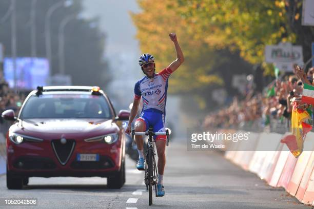 Arrival / Thibaut Pinot of France and Team Groupama FDJ / Celebration / during the 112th Il Lombardia 2018 a 241km race from Bergamo to Como / IL /...