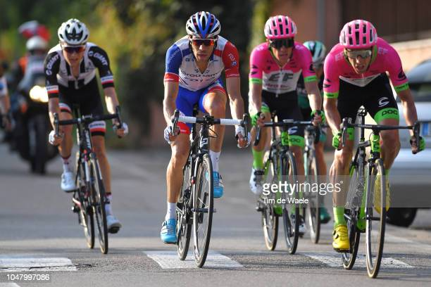 Arrival / Thibaut Pinot of France and Team Groupama FDJ / Michael Woods of Canada and Team EF Education First - Drapac P/B Cannondale / during the...