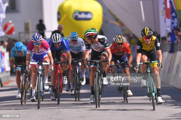Arrival / Thibaut Pinot of France and Team Groupama FDJ Purple leader jersey Fabio Aru of Italy and UAE Team Emirates / Koen Bouwman of The...